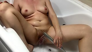 Water Jet Masturbation Hairy Pussy in Bathroom