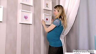 Gorgeous Young Pregnant Anetta Masturbates in the Shower!