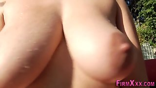 Titfucked babe gets cum