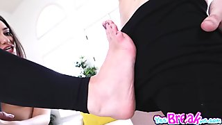Gia Paige ride her hairy pussy on top of that big cock