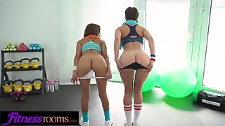 Fitness Rooms Fit girls show off tight sexy butts in athletic fuck session