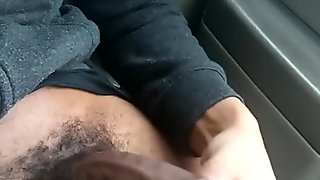 Risky public jack off session