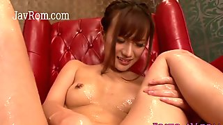 japanese busty MILF plays with her hairy Asian hole
