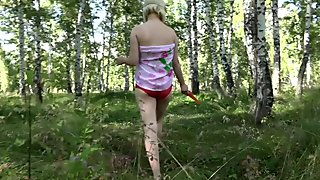 skinny, pregnant milf, hairy cunt, big nipples, masturbation in the woods