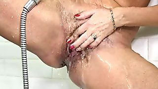 Blonde MILF Kate S Masturbating Hairy Pussy with Showerhead on AllOver30