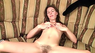 Brunette with small tits masturbating